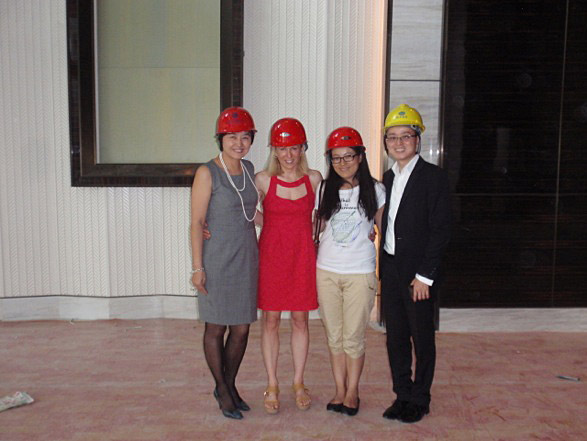 Catherine Heald with Ritz-Carlton staff for behind the scenes hard-hat tour