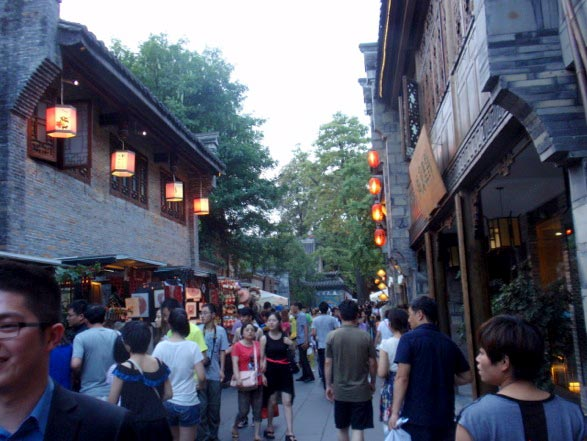 The bustling crowd of Jin Li Street in Chengdu.