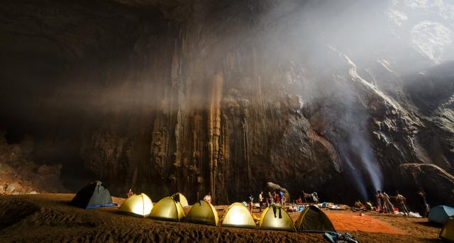 Underground campsite at Son Doong