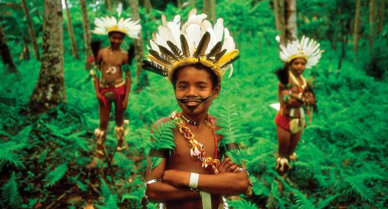 Tribal kids, Trobriand, Papua New Guinea