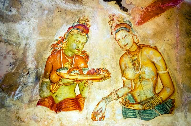 Frescos on the way up Sigiriya.