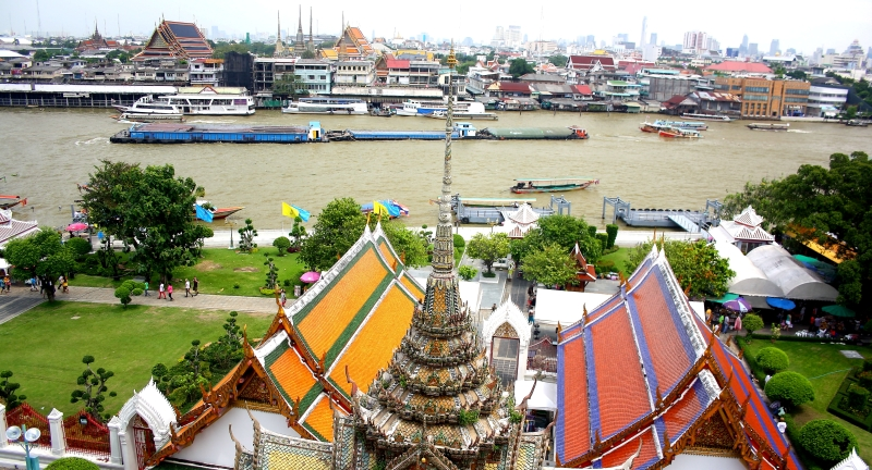 Bangkok & the Chao Phraya River viewed from the Temple of Wat Arun