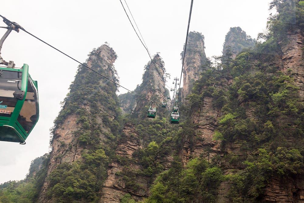 The cable car at Huangshizhai.