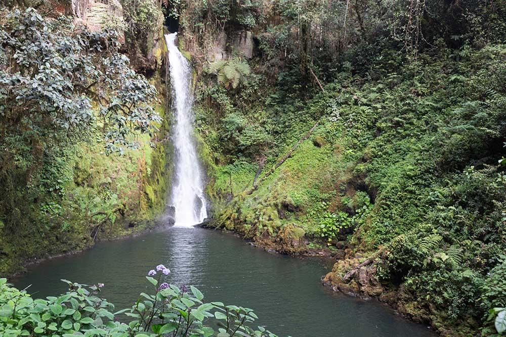 A waterfall a short walk from the Ambua Lodge.