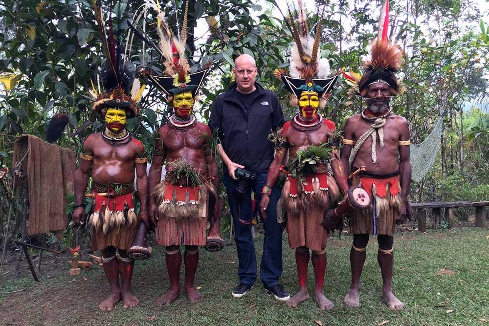 With the Huli Wigmen in Tari.