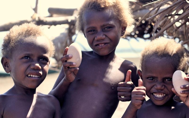 Local kids at Duke of York Island