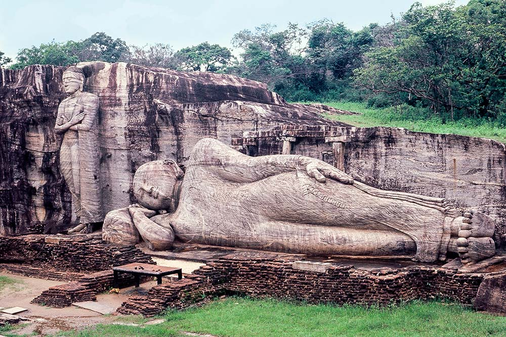 Giant stone carved Buddhas at Gal Vihara,