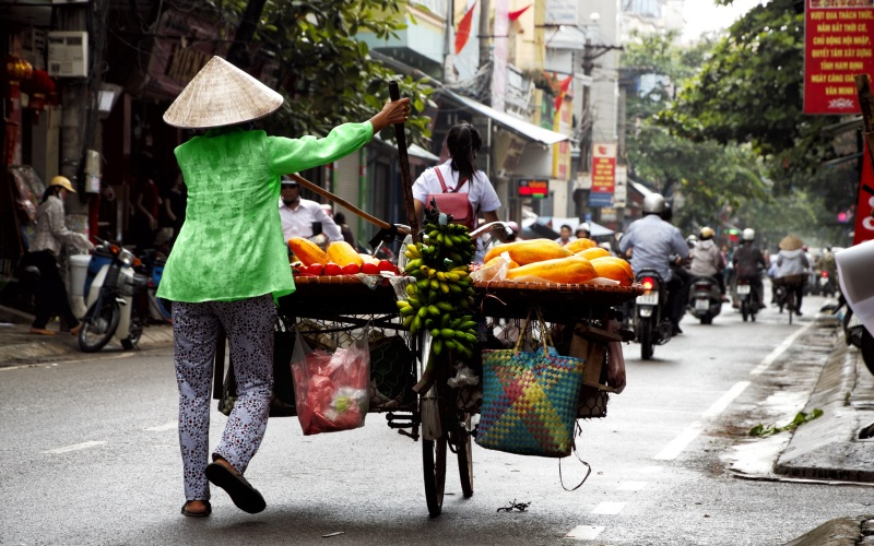 Fruit vendor on the streets of Hanoi