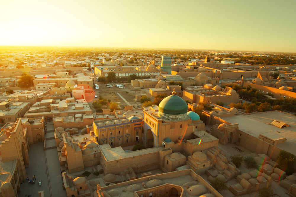 Ancient city of Khiva at sunset.