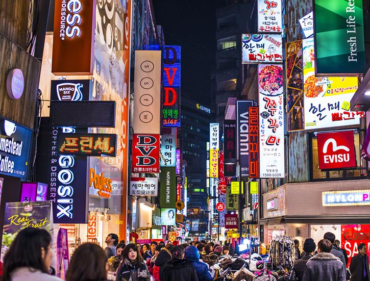 Neon-Lights Nightlife Seoul, South Korea.