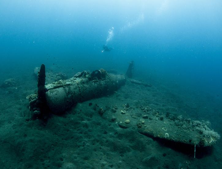 A Japanese World War Two Plane Wreck Underwater