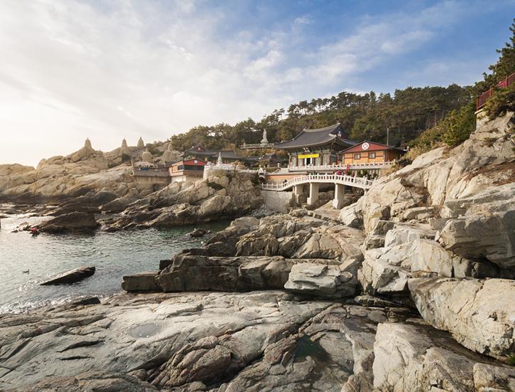 Seaside Temple At Busan, Korea.