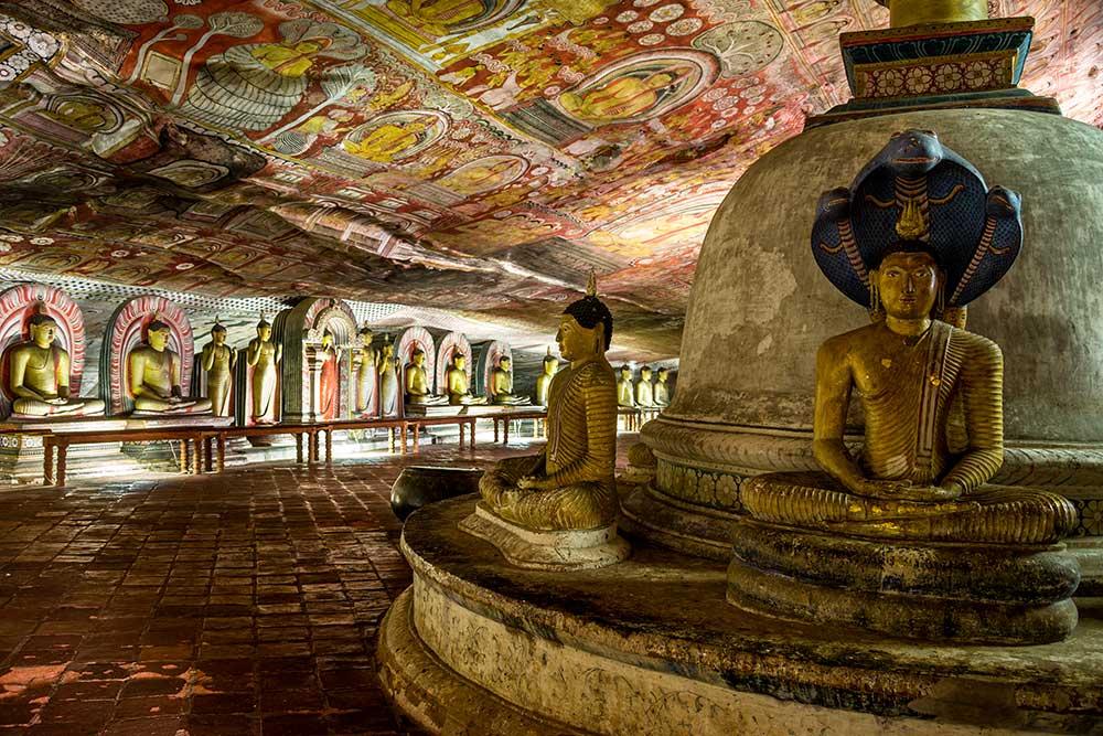 Inside the Dambulla Cave Temple, in Sri Lanka's Cultural Triangle