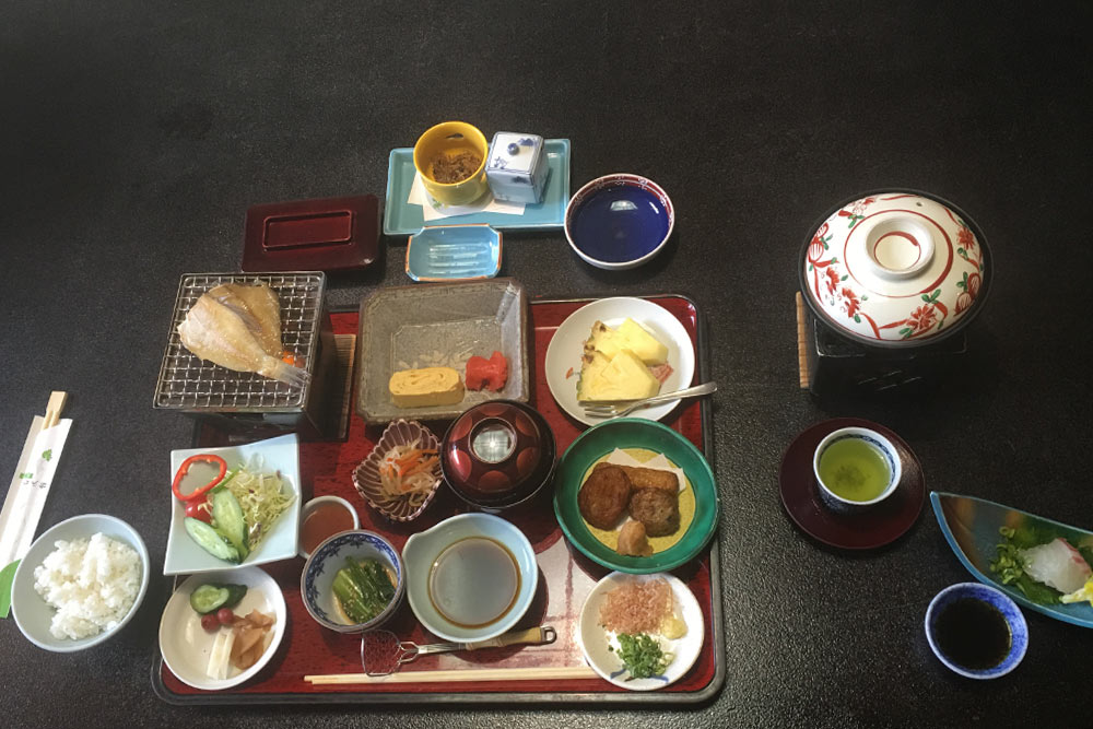 Japanese breakfast is served.