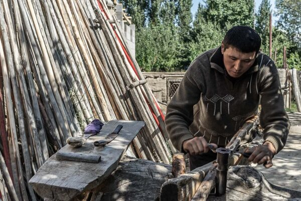 Building a Yurt on the Shores of Issyk Kul Lake