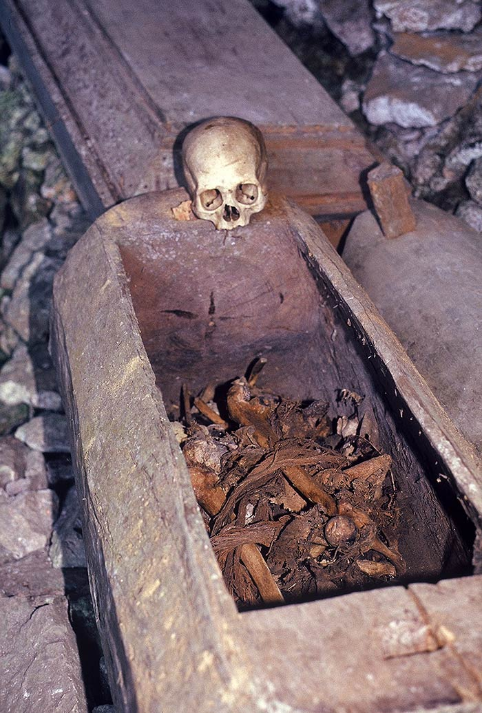 Many coffins are open, with the bones scattered about.