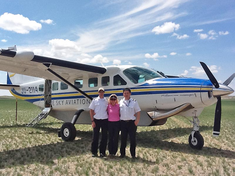 Catherine Heald flying privately in Mongolia