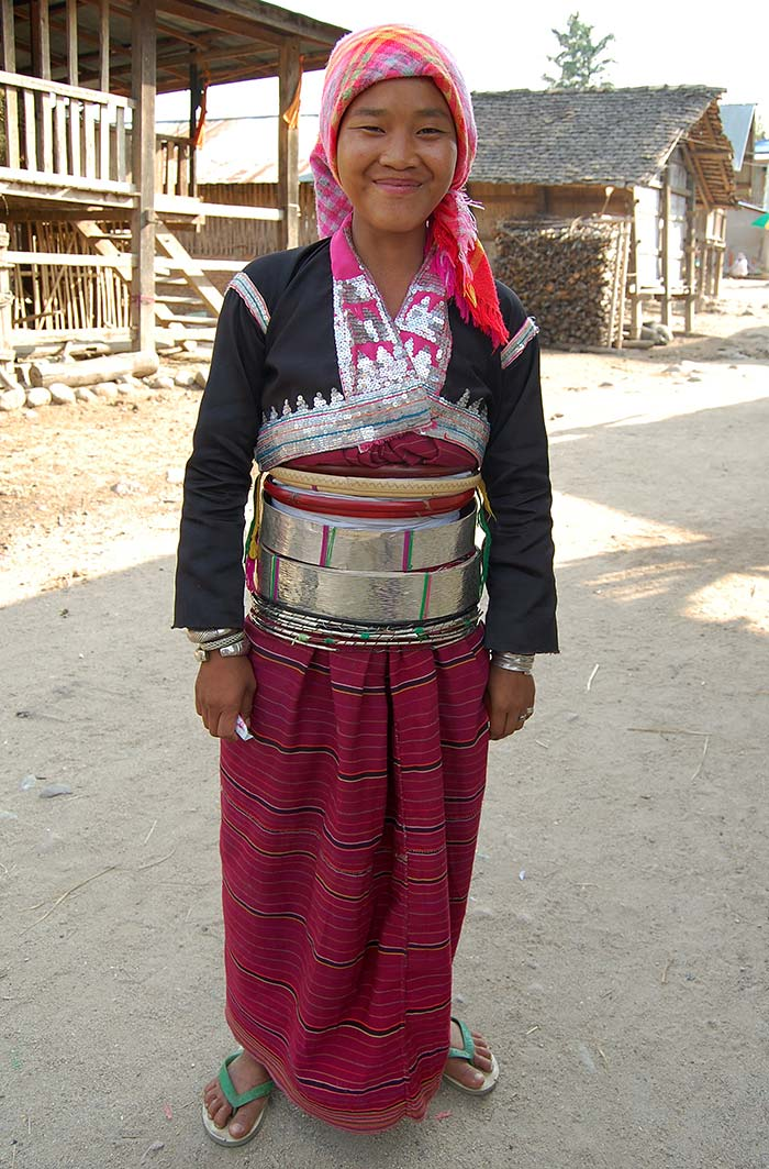 A Silver Palaung girl with a distinctive silver belt.