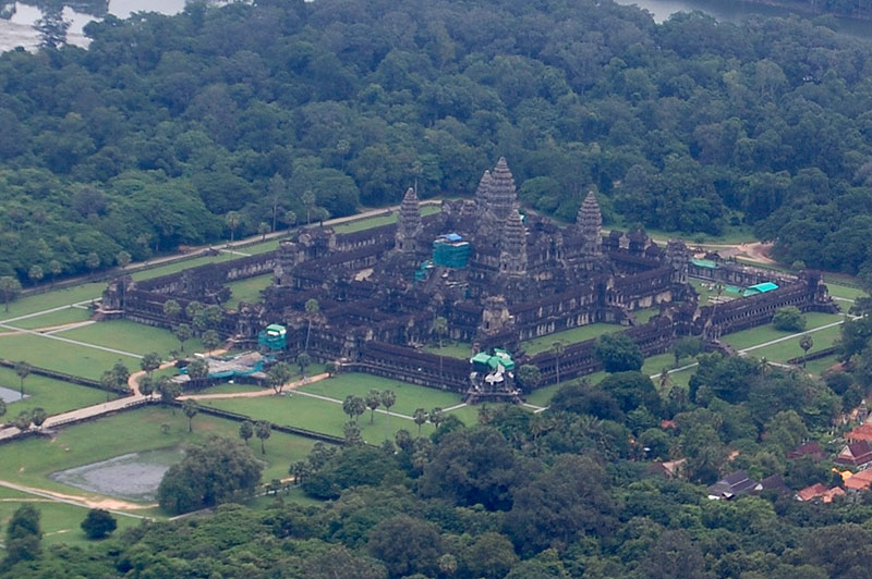 An aerial view of Angkor Wat from my helicopter.