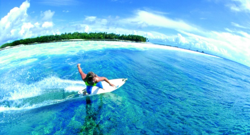 Surfing in the Maldives