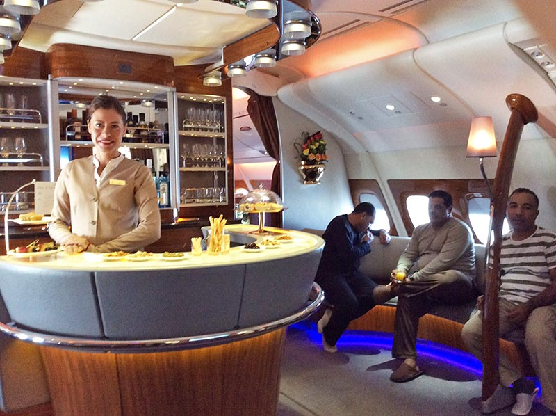 Upper deck with bar