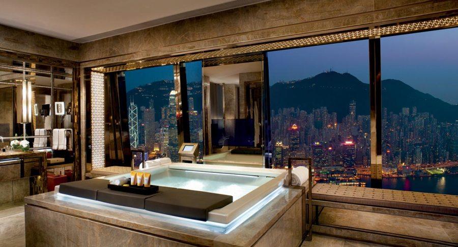 A bathroom with a view at the Ritz-Carlton Hong Kong