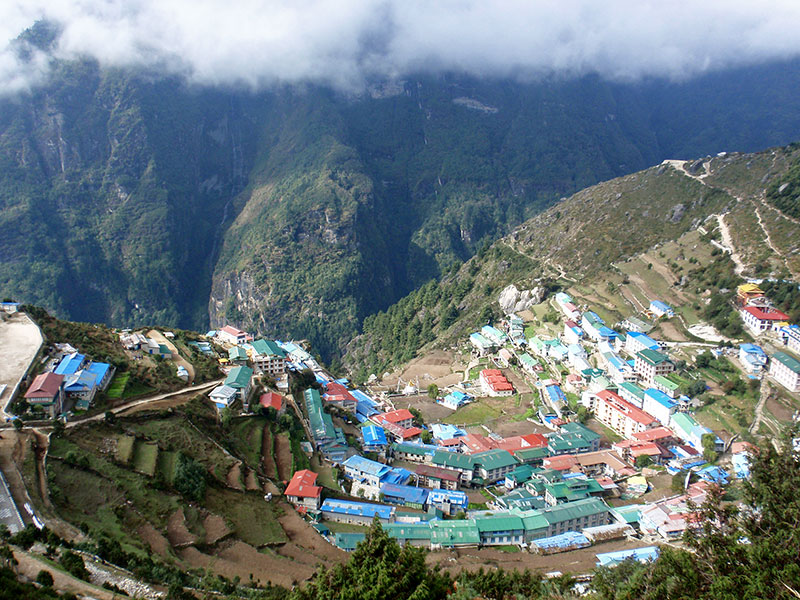 The view from above Namche.