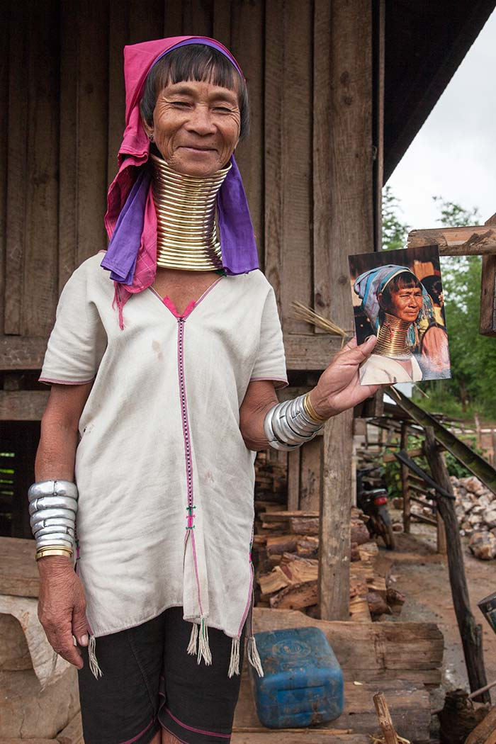 The mother of the village chief was thrilled to receive a photo of herself that my guide gave her.