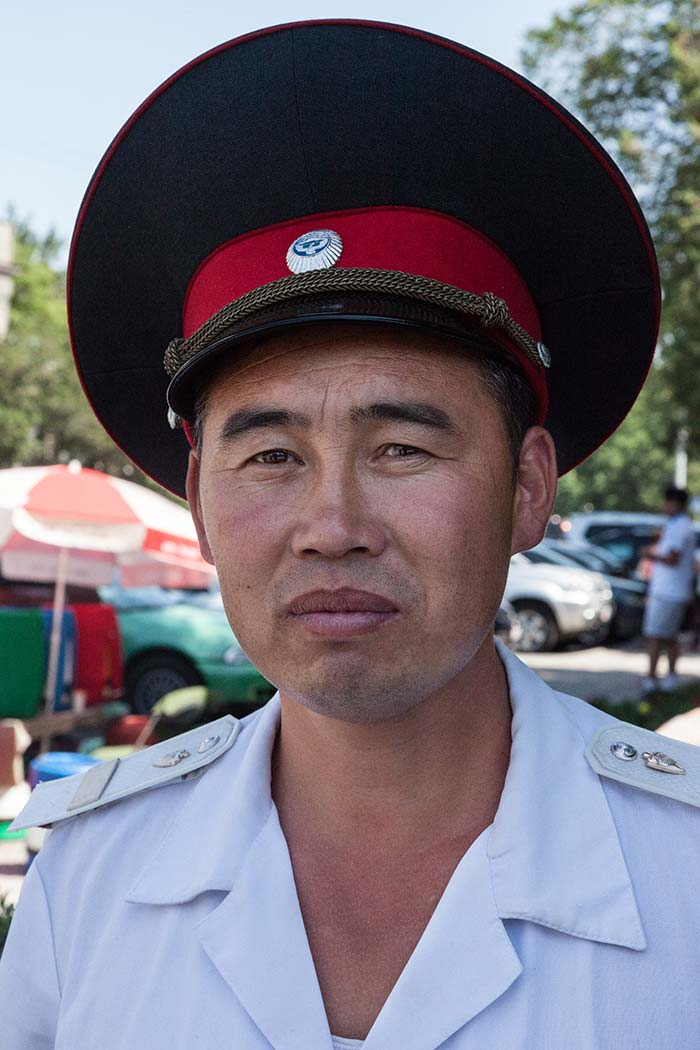 A policeman in Bishkek who allowed us to take his photo after much persuasion..