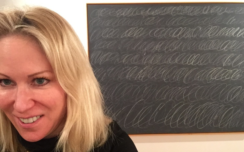 """Catherine selfie with Cy Twombly's """"Untitled I"""""""