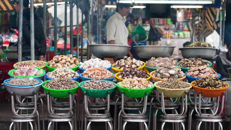 A typical Vietnam shellfish selection