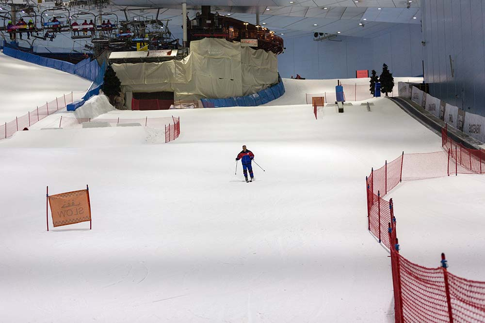 Skiing at the Mall of the Emirates.