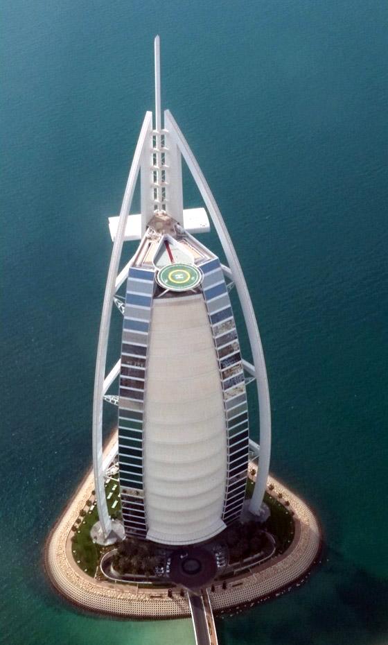 Bird's eye view of the Burj Al Arab