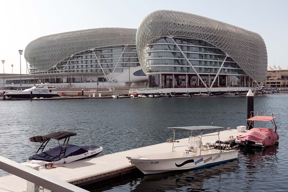 A view of the Yas Viceroy hotel, which is very popular during the F1 races.