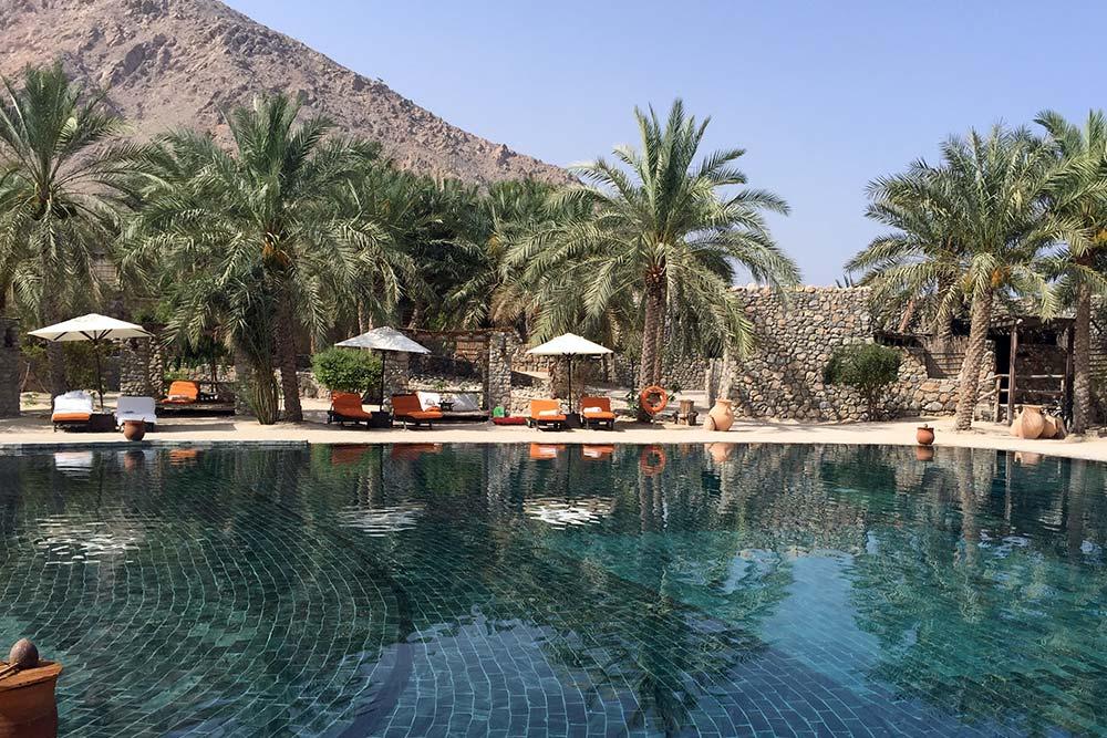 The pool at Six Senses Zighy Bay