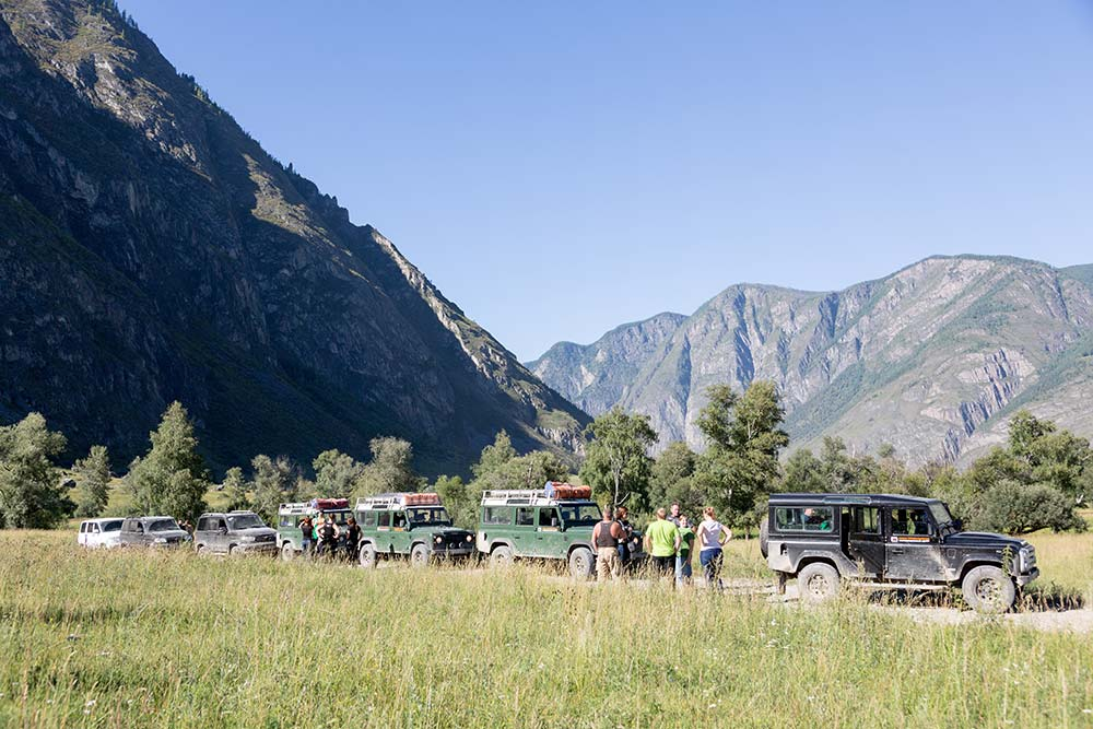 Our caravan of Land Rover Defenders.