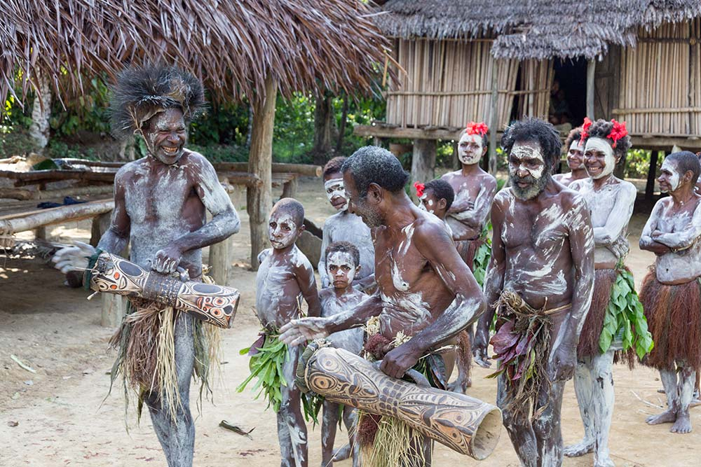 "Villagers in Konmei performing a ""Masingin Siaa"" victory dance."