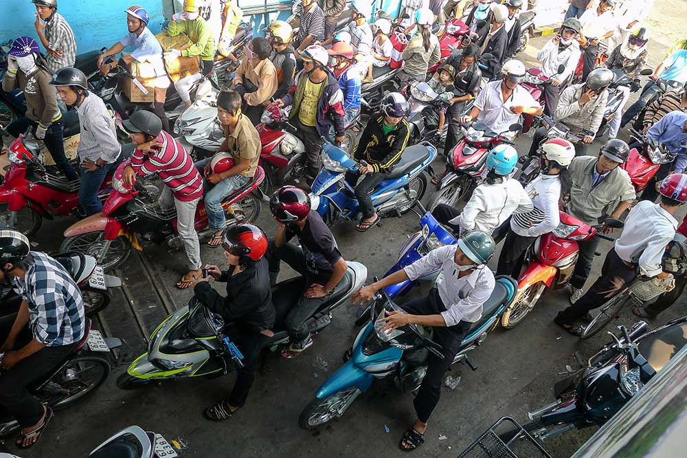 The motor ferry to the Cham village was packed with motorbikes.