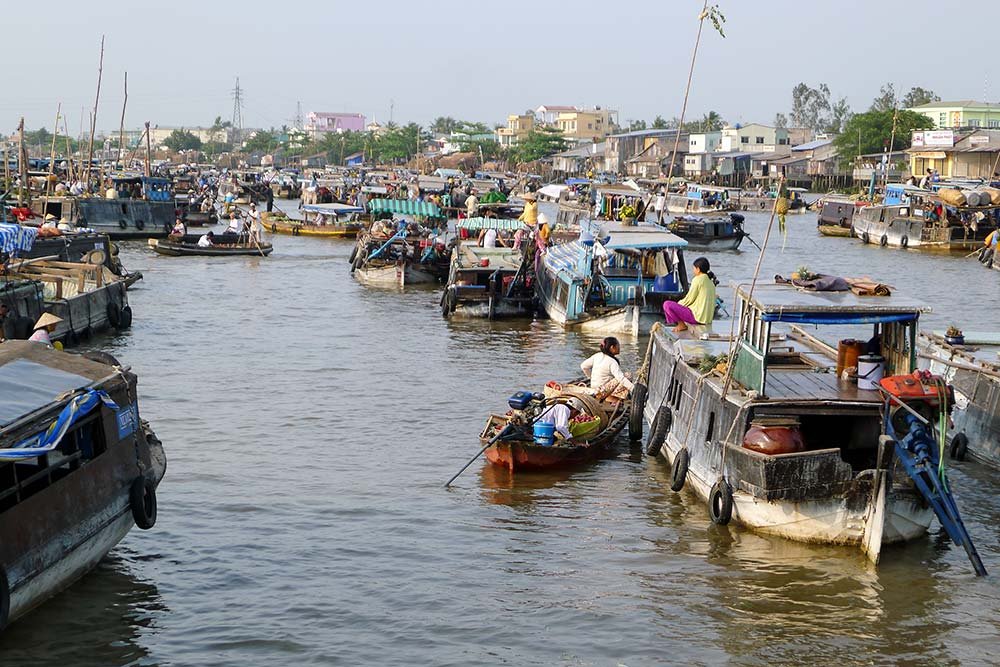The Cai Rang floating market is packed with vendors selling directly from their boats.