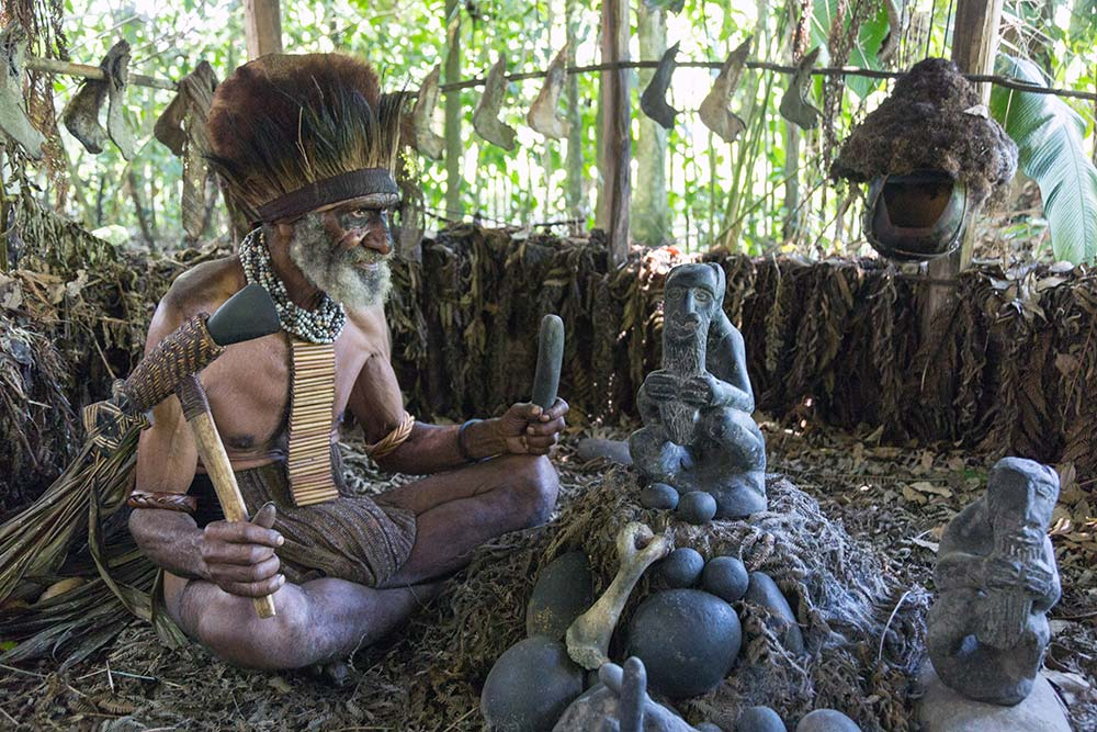 A witch doctor in Tokua village.