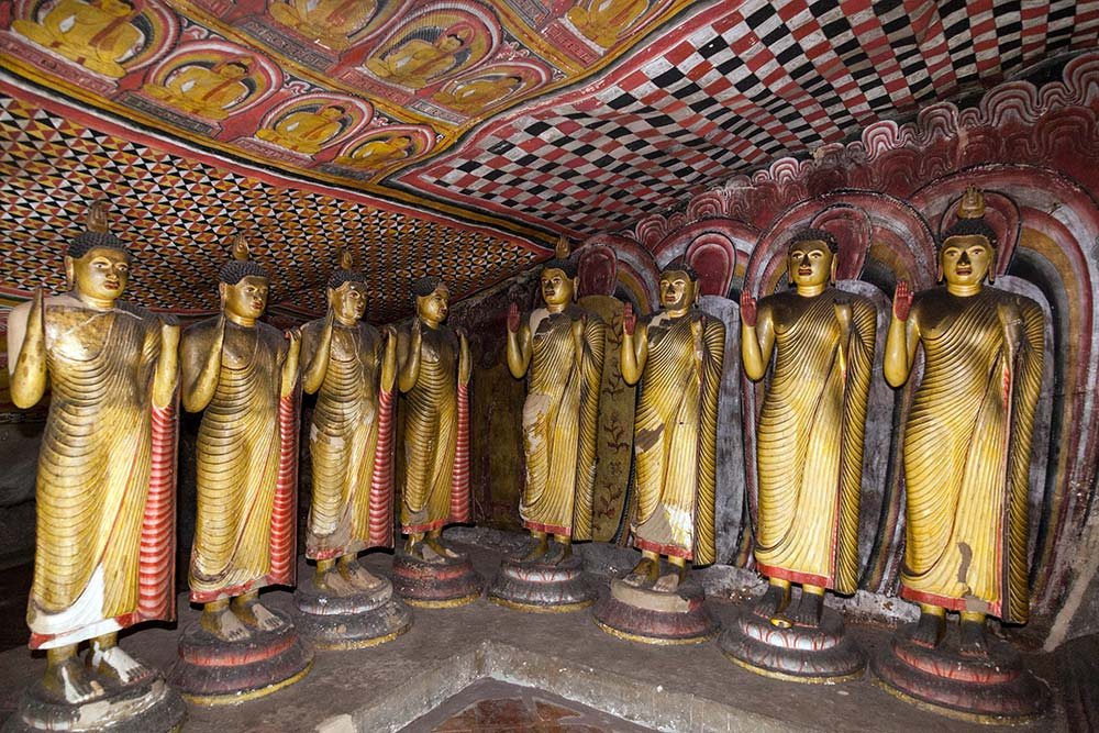 Carved stone Buddhas in Dambulla's main cave.