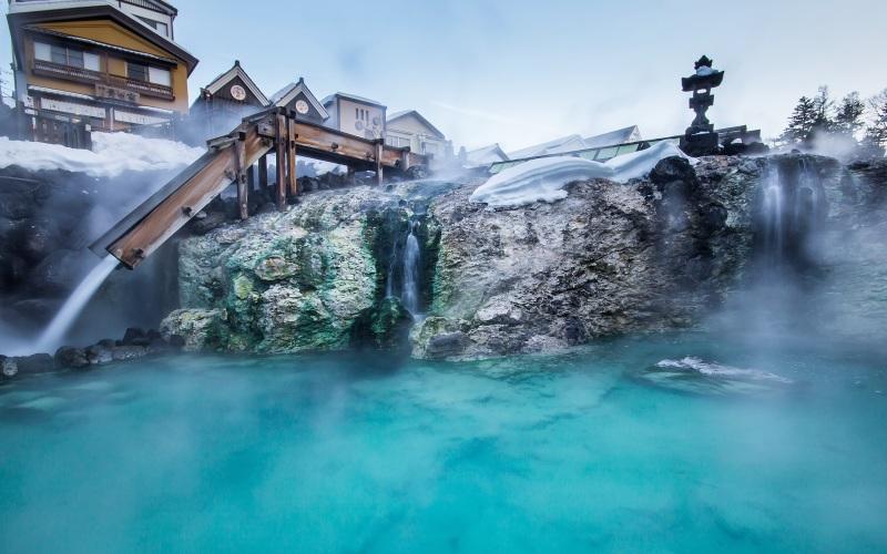 Wintry onsen scene in Gunma, Japan