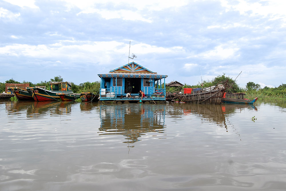 A floating home on the Tonle Sap lake.