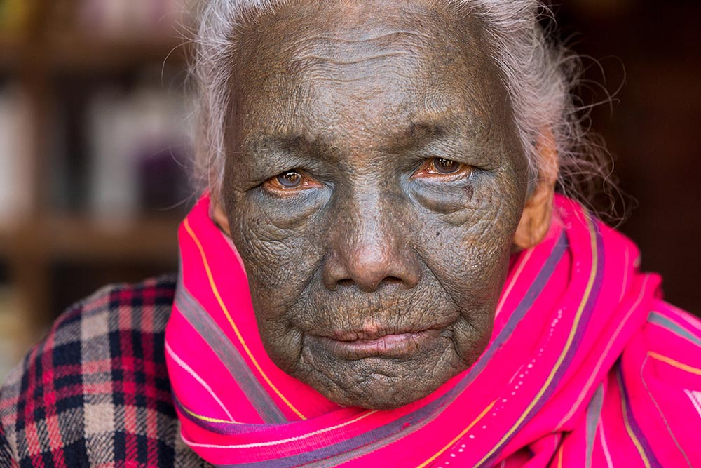 An 86-year-old woman from the U-Pu tribe, which is one of the rarest in Chin State.