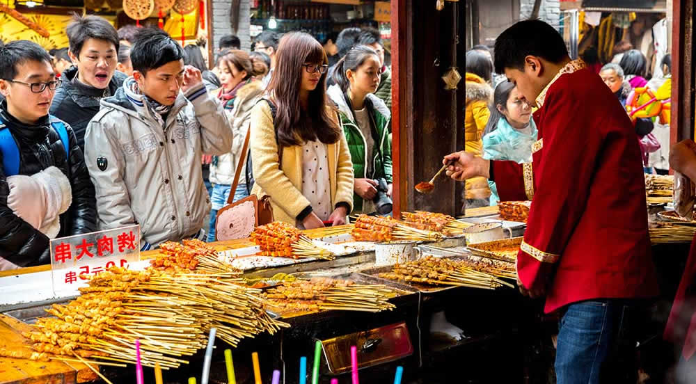 Hustle and bustle of a Chinese street market