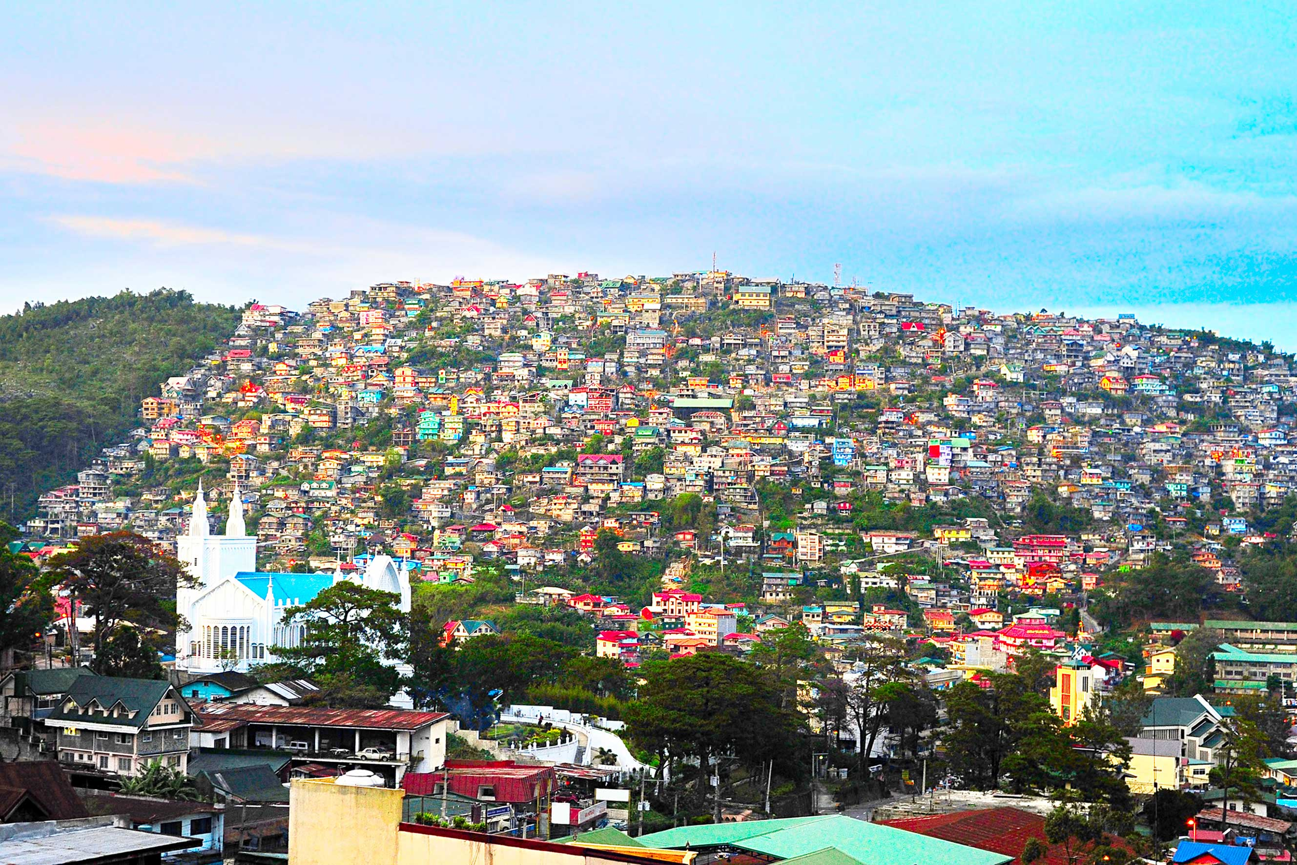 Baguio city at dusk, Luzon Island, Philippines
