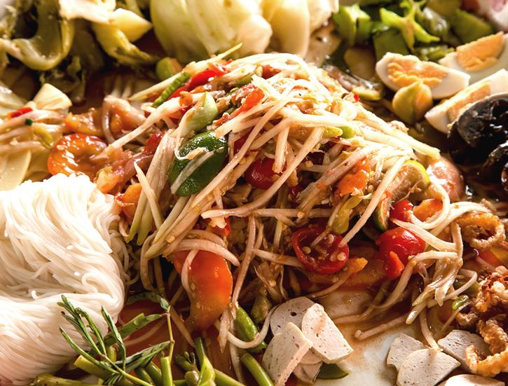Som Tam and Khao Pun,Famous Laos Cuisine.