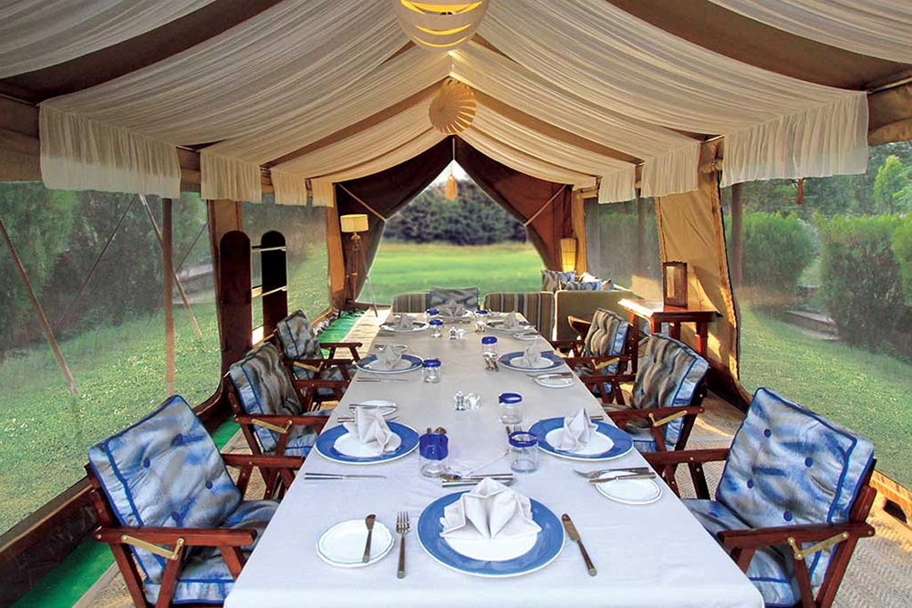 The tents of Kohima Camp are located in the rainforests of Nagaland.