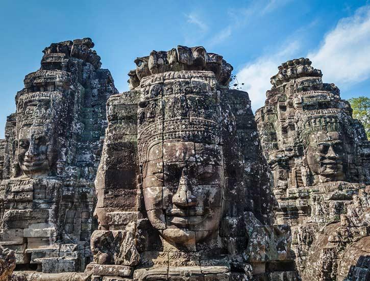 Ancient stone faces of Bayon temple, Angkor, Cambodia
