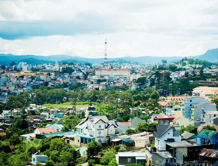 Dalat city view, Vietnam. The architecture of Da Lat is mostly the style of the French colonial period